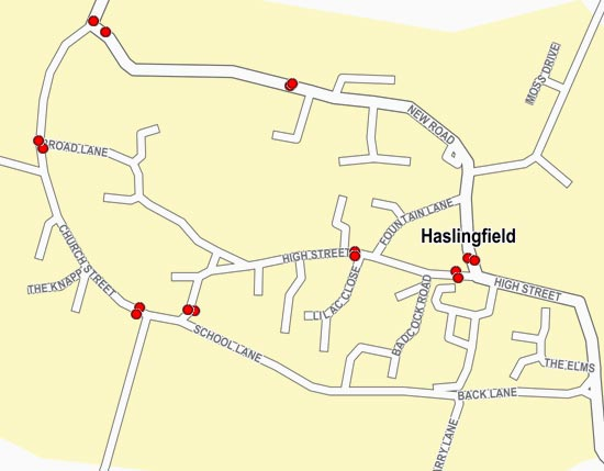 Bus stops in Haslingfield map