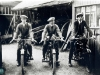 57-tran: Early Motor Cycles in River Lane about 1920.