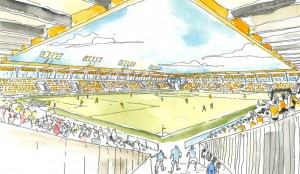 An impression of the inside of Cambridge United proposed new stadium .